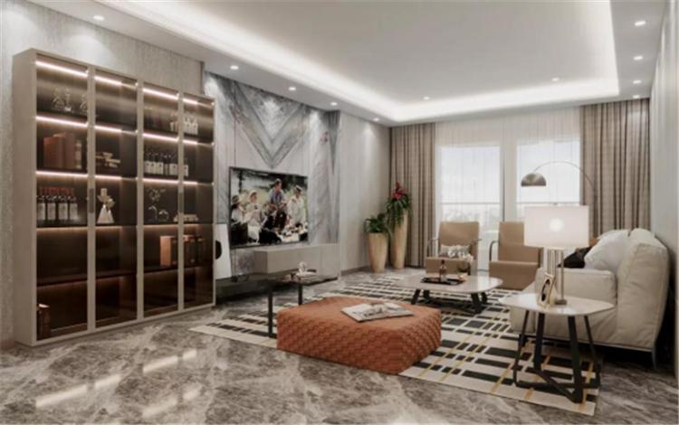 北京孔雀城悦公馆现代轻奢客厅装修案例