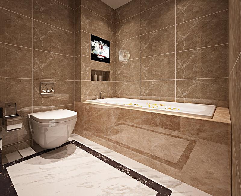 title='浴室装修设计时如何铺贴瓷砖'